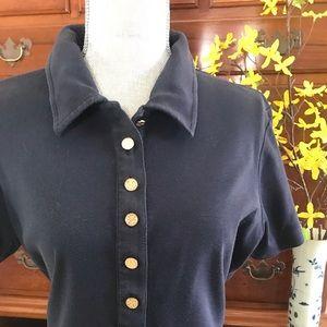 Tory Burch Tory Navy Cotton Polo Size XL